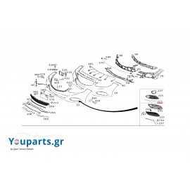 Right bumper grille trim strip Mercedes-benz A2128852821 E-CLASS W212